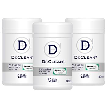 [告知ステッカー付][3個セット]Dr.CLEAN⁺ 除菌・ウイルス除去アルコールクロス 本体80枚入(3)