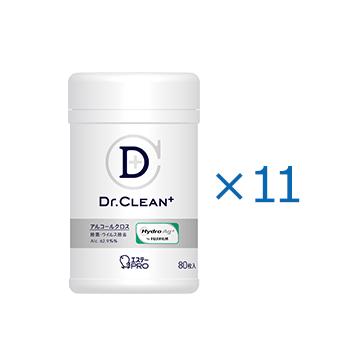 [告知ステッカー付][ケース]Dr.CLEAN⁺ 除菌・ウイルス除去アルコールクロス 本体80枚入(11)