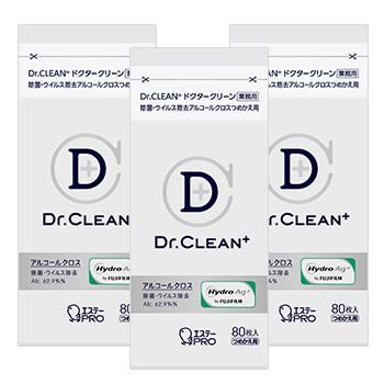 [3個セット]Dr.CLEAN⁺ 除菌・ウイルス除去アルコールクロス つめかえ80枚入(3)